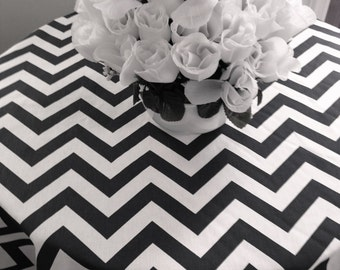 Round tablecloth, black and white chevron zig zag, for home or weddding party custom sizes made to order