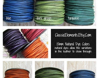 1.5mm Round Leather Cord, 1.5mm Leather Cord, Natural Dye Leather Cord, 1.5mm, 1.5