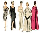 1960s Evening Dress and Coat Pattern Empire Waist Funnel Coat Vogue Special Design Vogue 6084 Bust 31 Vintage Sewing Pattern Cocktail Dress