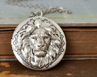 lion locket, vintage style silver locket, BRAVE ONE, round pendant lion locket necklace in antiqued silver, photo locket necklace,