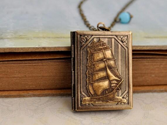 JOURNEY, boat locket, ship locket necklace, book locket, traveler's locket, long chain