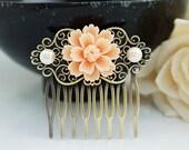 Wedding hair accessories Bridesmaids Gift Wedding Hair Comb Vintage Style Peach Sakura Flower Bridal Hair Comb Bridal Hair accessories