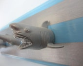 Upcycled Toy Wall Peg Rack with Blue and Silver Shark Clothes Hooks