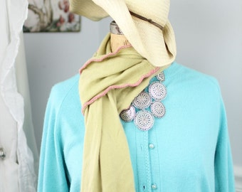 Lush, hand-crocheted scarves made from repurposed cashmere sweaters (in lime green)