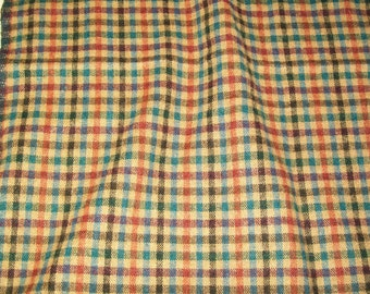 Vintage Wool Fabric - Colorful Check - Plaid - 2 3/4 Yards