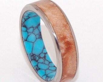 wedding ring, titanium rings, wood rings titanium wedding ring, men's ring, women's ring, turquoise - CONIFER