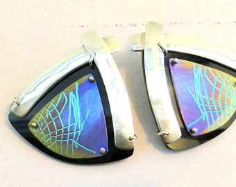Earrings Niobium Signed Sterling Silver Artistic Black Onyx Pierced