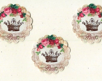 Stickers, Seals, French Theme, Crown & Roses Stickers