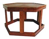 Mid Century Modern Side Table - Brown Saltman Walnut Hexagon Accent / Lamp Table