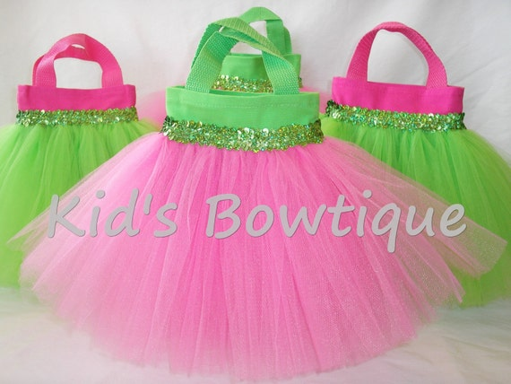 Set of 8 Lime and Hot Pink Party Favor Tutu Bags - birthday party decorations - tutu purses