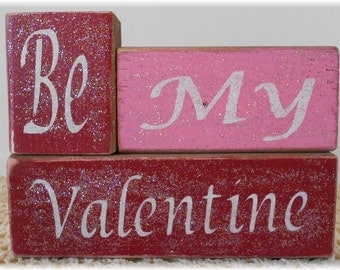 Be My Valentine Wood Block Set Pink And Red With Glitter