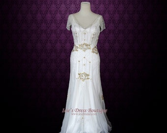 1920s wedding dress etsy boho wedding dress vintage inspired wedding dress glamorous 1920s wedding dress hippie wedding junglespirit Images