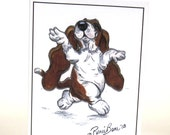 1 Dancing Izzy Basset Hound Pop-Out Greeting Card