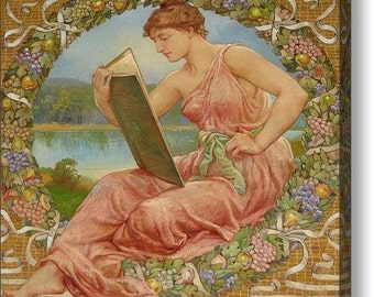 Woman Reading by the River - 10 x 12 Fine Art Canvas Print