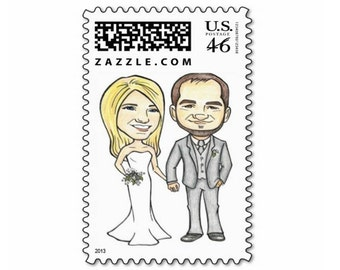 Custom Caricature Illustration- Wedding Couple - Postage Stamps -  Save the Date - Wedding Sign Board