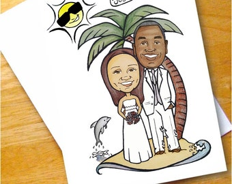 Custom Caricature Illustration - Engagement - Save The Date - Guest Book - Wedding Sign Board -  Thank You Cards