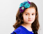 Peacock Fabric Rosette Headband, Feathers Purple Teal, Turquoise Black Elastic Headband, special occasion, wedding, Flower Girl, Photo Prop