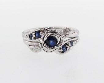 Prize Tea Rose Wedding set, Royal Blue sapphire