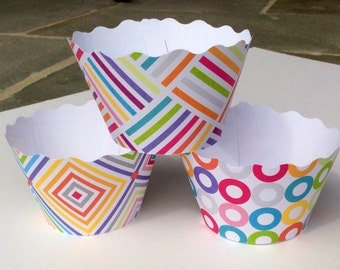 Primary Colors Cupcake Wrappers Multicolored Patterns SALE