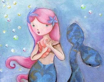 Echo Mermaid Girl Art Print