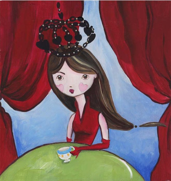 Queen of Hearts Dark Alice Wonderland Girl Art Print