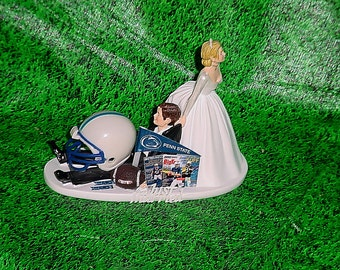 College Football Penn Nittany Lions funny Anxious bride dragging Groom Wedding Cake topper - Pennsylvania State University Fans-2A