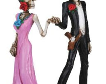 Halloween Bride and Groom Day of the Dead Gothic Wedding Cake Toppers - Hand Painted Resin Romantic Skeleton Figurines-R3
