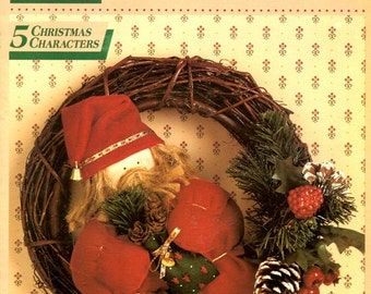 Santa's All Stars Soft Sculpture Stuffed Plush Snowman Angel Elf Mrs Claus Christmas Characters Sewing Craft Pattern Leaflet McCalls 14161