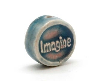 Word Beads, 4 pcs, 12mm, Imagine Beads, Word Beads, Raku Clay Beads -R127