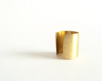 Brass Ear cuff with scratched texture for unpierced ears
