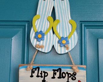 Flip Flop welcome sign hand painted