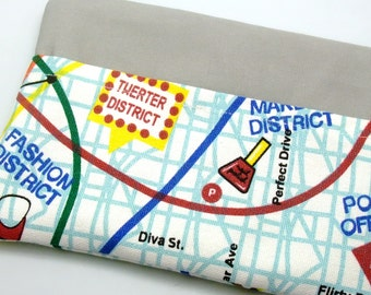 RS Large Zipper Pouch, Pencil Pouch, Gadget Bag, Cosmetic Bag, with a front pocket, City map (ZL-24)