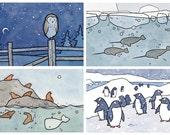 Choose 4 Mini Prints, small cute animal illustrations print series