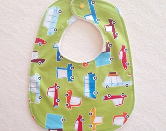 Baby Bib with Organic Cotton. Cars on Green. Free Shipping
