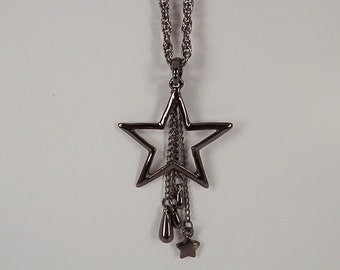 Black Star Pendant with Chain Tassels
