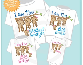 Set of Four Sibling Monkey Shirt and Onesie Set, I am the Biggest Brother Shirt, Big Brother, Big Sister and Baby (06192014c)