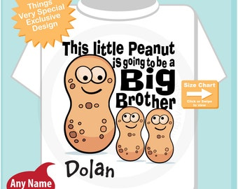 Big Brother Shirt with twin peanuts, This Little Peanut is Going to Be A Big Brother Tee Shirt or Onesie, Peanut Shirt (08142014h)
