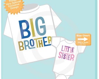 Big Brother Little Sister Shirt set of 2, Sibling Shirt or Onesie, Tshirt with Letters, t-shirt with text (08282014b)