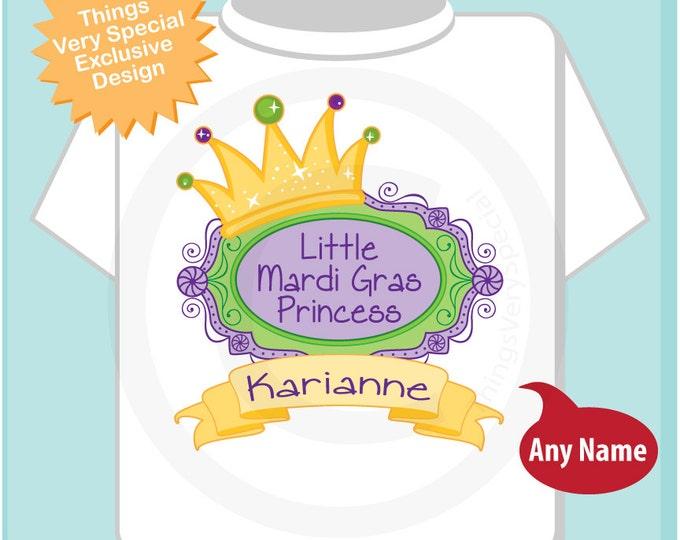 Mardi Gras Princess Shirt, Personalized Princess Shirt or Onesie, Princess Shirt for Toddlers and Kids (02072012a)