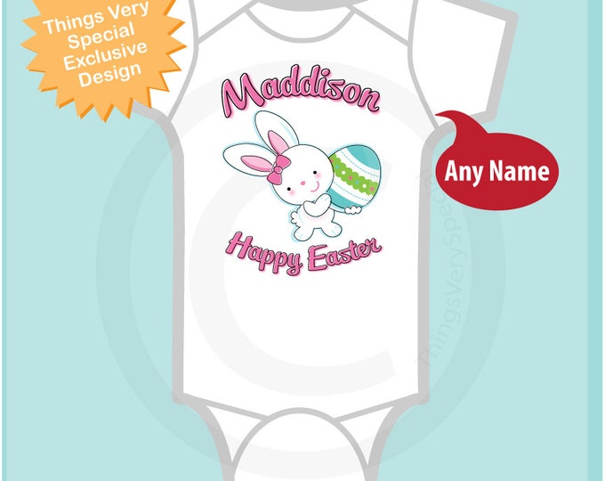 Happy Easter Onesie, Personalized Easter Shirt or Onesie, Easter Bunny and Egg Shirt for Toddlers and Kids (03072012b1)