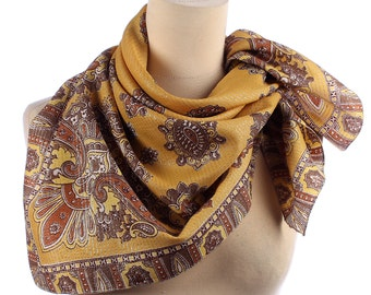 Bohemian Scarf 70s. Paisley Printed Scarf . Silver Threaded . Harwest Shawl in Brown and Yellow