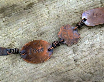 Love Laugh Dream Stamped Copper Bracelet