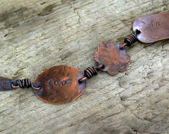 Love Laugh Dream Stamped Copper Bracelet