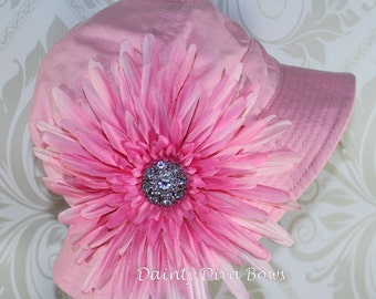 Toddler Girl Pink Sunhat with Beautiful Pink Gerbera Flower