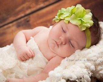 Hydrangea Headband,Baby Headband,Baby Flower Headband,Green Headband,Newborn Headband,Baby girl Headband,Girl Headband,Prop,Camila Headband