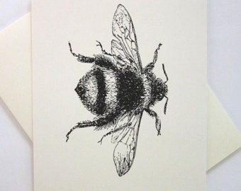 Bumblebee Cards Set of 10 in White or Light Ivory with Matching Envelopes