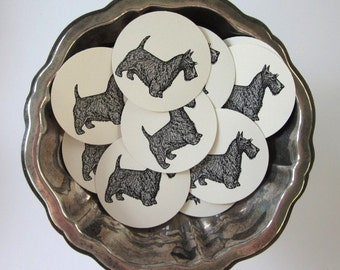 Scottie Dog Tags Round Paper Gift Tags Set of 10