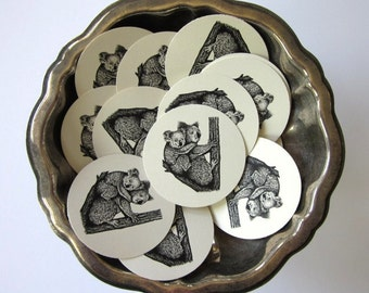 Koala Bear Tags Round Paper Gift Tags Set of 10
