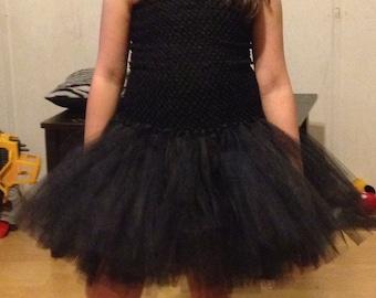Girls 5-10 all black super full LBD --- little black tutu dress