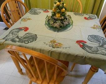 "Vintage Beautiful California Handprinted Green Rooster, Farm Table Cloth SALE, ""Rise and Shine"""